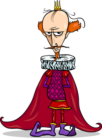 rey caricatura: Ilustración de dibujos animados divertido del rey del cuento de hadas de la fantasía del personaje
