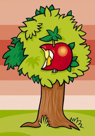 eden: Cartoon Illustration der Apfelbaum mit Obst vernascht Illustration
