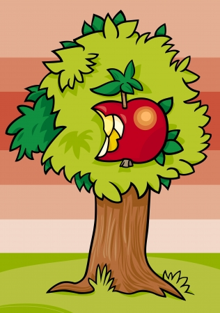 nibbled: Cartoon Illustration of Apple Tree with Nibbled Fruit