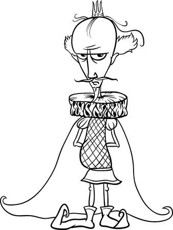 rey caricatura: Blanco y Negro Ilustración de dibujos animados divertido rey del cuento de hadas de la fantasía de caracteres para Coloring Book Vectores