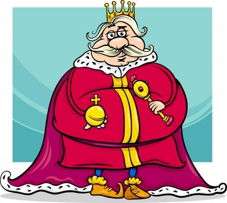 rey caricatura: Ilustración de dibujos animados divertido gordo Rey Fairytale Fantasy Character