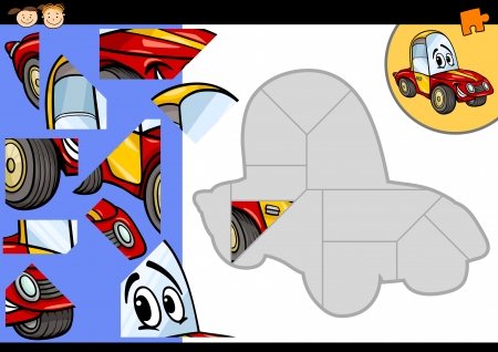 Cartoon Illustration of Education Jigsaw Puzzle Game for Preschool Children with Funny Car Vehicle Character Vector