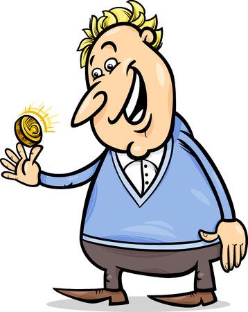 lucky man: Concept Cartoon Illustration of Lucky Man with Golden Coin