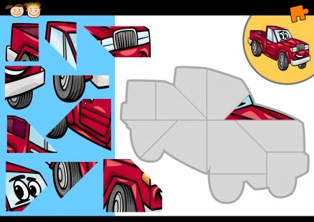 pick up: Illustration de bande dessin�e de l'�ducation Jigsaw Puzzle pour enfants d'�ge pr�scolaire avec Dr�le Pick Up Truck Caract�re v�hicule