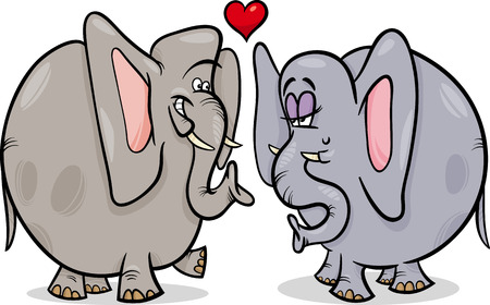 fall in love: Valentines Day Cartoon Illustration of Funny Elephants Couple in Love