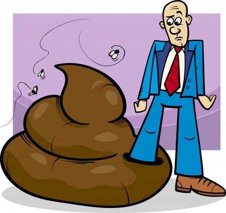 Cartoon Concept Illustration of Shit Happens Expression or Man who Trod in Big Poop