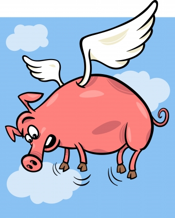 pig wings: Cartoon Concept Illustration of When Pigs Fly Saying
