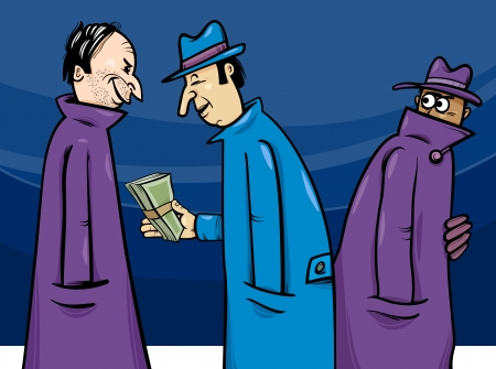 corrupted: Cartoon Concept Illustration of Illegal Economy or Crime or Corruption
