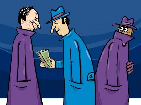 corruption: Cartoon Concept Illustration of Illegal Economy or Crime or Corruption
