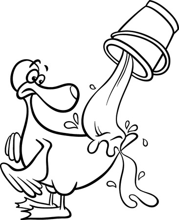 bucket of water: Black and White Cartoon Concept Illustration of Water Off A Ducks Back Saying for Coloring Book Illustration