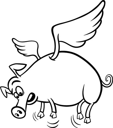 pig wings: Black and White Cartoon Concept Illustration of When Pigs Fly Saying for Coloring Book