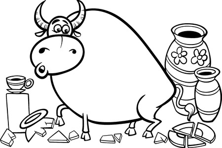 bruised: Black and White Cartoon Concept Illustration of Bull In A China Shop Saying for Coloring Book