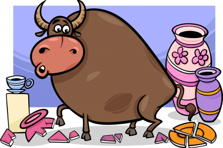 Cartoon Humor Concept Illustration of Bull in a China Shop Saying Vector