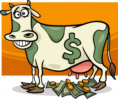 cash: Cartoon Humor Concept Illustration of Cash Cow Saying Illustration
