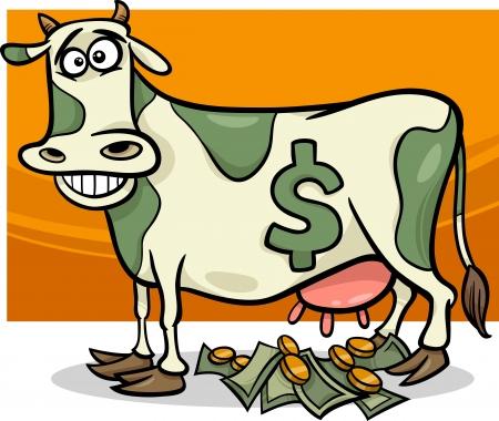 vaca caricatura: Cartoon Humor ilustraci�n del concepto de vaca de efectivo Decir