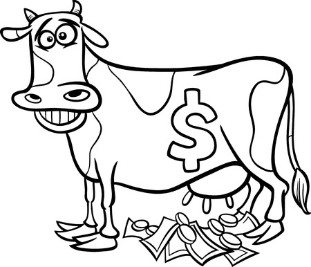 cash book: Black and White Cartoon Concept Illustration of Cash Cow Saying for Coloring Book