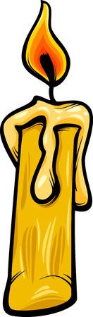 wick: Cartoon Illustration of Burning Wax Candle Clip Art