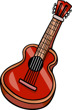 Cartoon Illustration of Acoustic Guitar Musical Instrument Clip Art Zdjęcie Seryjne - 24902128