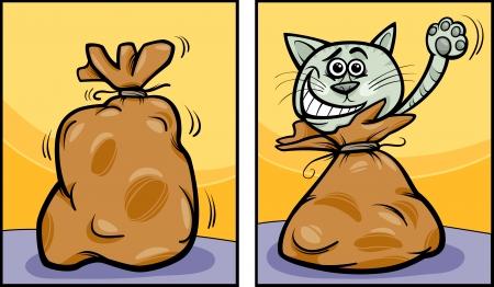 가방의하자 고양이 아웃의 만화 개념 그림 말하기 일러스트