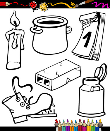 household objects: Coloring Book or Page Cartoon Illustration Set of Black and White Objects Clip Arts for Children Illustration