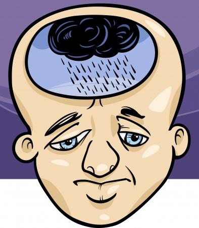 perişan: Depresyon Sad Man Karikatür Kavramı İllüstrasyon