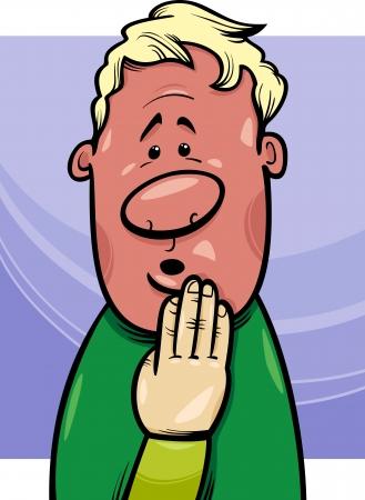 ashamed: Concepto de dibujos animados Ilustraci�n de Shy o Avergonzado Blushing individuo
