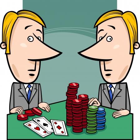 caricaturas de personas: Cartoon ilustración del concepto de dos empresarios o políticos jugando Poker