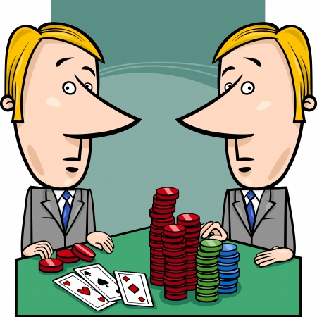 politicians: Concept Cartoon Illustration of Two Businessmen or Politicians playing Poker
