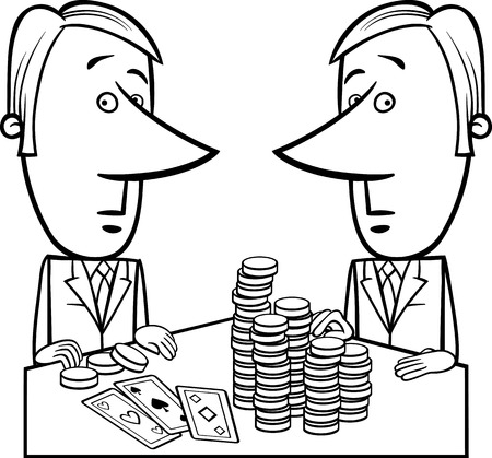 loose: Black and White Concept Cartoon Illustration of Two Businessmen or Politicians playing Poker