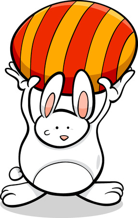 colored egg: Cartoon Illustration of Cute Easter Bunny with Colored Egg