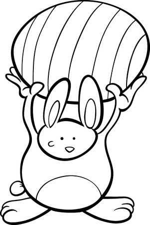 colored egg: Black and White Cartoon Illustration of Cute Easter Bunny with Colored Egg for Coloring Book