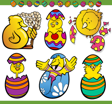 paschal: Cartoon Illustration of Happy Easter Themes with Chicken or Chicks and Paschal Eggs Illustration