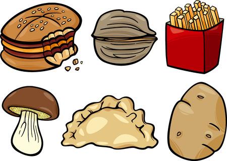 Cartoon Illustratie van voedsel voorwerpen Clip Art Set