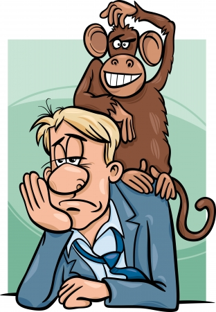 woebegone: Cartoon Humor Concept Illustration of Monkey on your Back Saying or Proverb