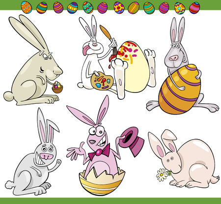 Cartoon Illustration of Happy Easter Themes with Bunnies and Paschal Eggs Vector