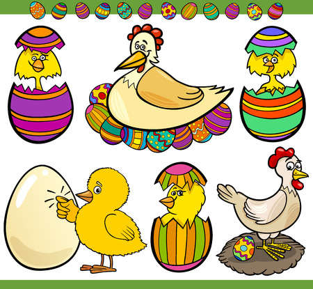 Cartoon Illustration of Happy Holiday Themes with Chicken or Chicks and Easter Eggs
