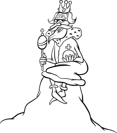 hill of the king: Cartoon Humor Concept Illustration of King of the Hill Saying or Proverb