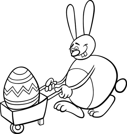 coloring easter egg: Black and White Cartoon Illustration of Funny Easter Bunny with Big Egg on Wheelbarrow for Coloring Book