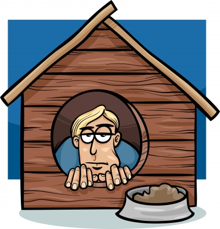 downhearted: Cartoon Humor Concept Illustration of In The Dog House Saying or Proverb Illustration
