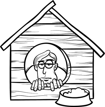downhearted: Black and White Cartoon Humor Concept Illustration of In The Dog House Saying or Proverb for Coloring Book Illustration