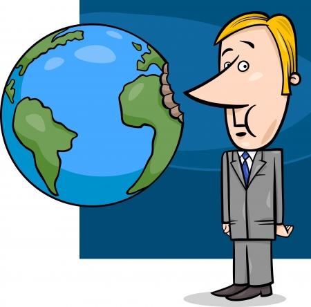 metafoor: Concept Cartoon illustratie van zaken Bijten de Aarde of Overexploitatie Economie Metaphor