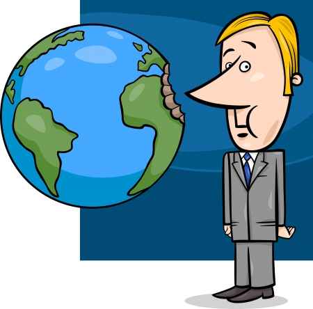 Concept Cartoon Illustration of Businessman Biting the Earth or Overexploitation Economy Metaphor Illustration