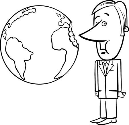 Black and White Concept Cartoon Illustration of Businessman Biting the Earth or Overexploitation Economy Metaphor
