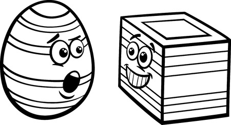 coloring easter egg: Black and White Cartoon Illustration of Funny Easter Square Egg for Coloring Book Illustration