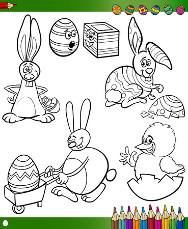 Easter Themes Collection Set of Black and White Cartoon Illustrations with Bunnies and Chicken for Coloring Book Vector