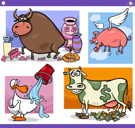 Illustration Set of Humorous Cartoon Sayings or Proverbs Concepts and Metaphors with Funny Animal Characters Vector