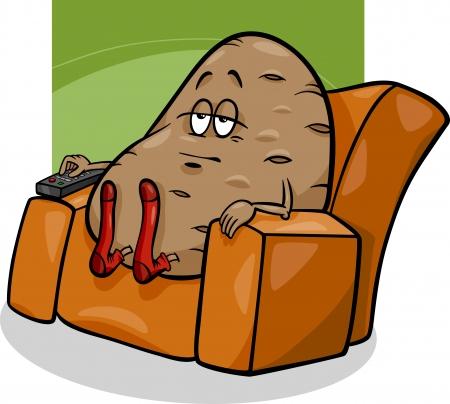 소파 감자 말이나 격언의 만화 유머 개념 그림 일러스트