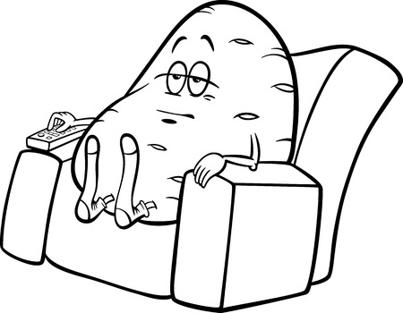 Black and White Cartoon Humor Concept Illustration of Couch Potato Saying or Proverb for Coloring Book Vector