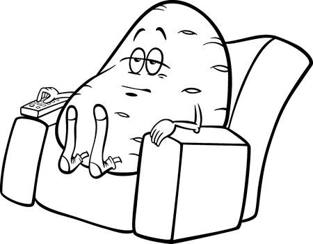 Blanco y negro de dibujos animados Humor ilustración del concepto de decir Couch Potato o proverbio para Coloring Book