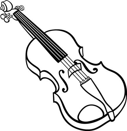 색칠 공부를위한 바이올린 악기 클립 아트의 흑백 만화 일러스트 레이 션